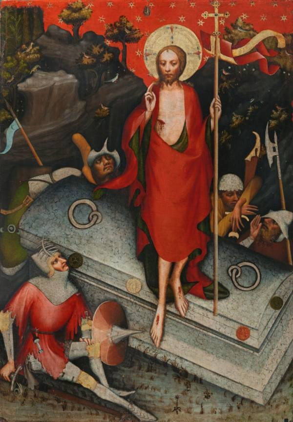 Master of the Třeboň Altarpiece, The Resurrection / SS James the Less, Bartholomew, Philip, after 1380