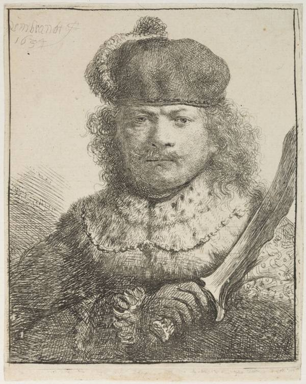 Rembrandt van Rijn, Self-Portrait with Raised Sabre, 1634