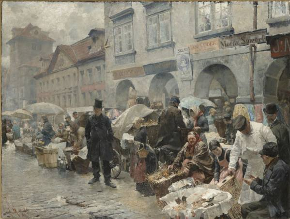 Luděk Marold, The Egg Market in Prague, 1888
