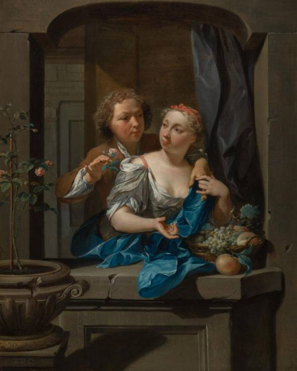Nicolaas Verkolje, Young Man Presenting a Rose to a Young Woman, before 1710