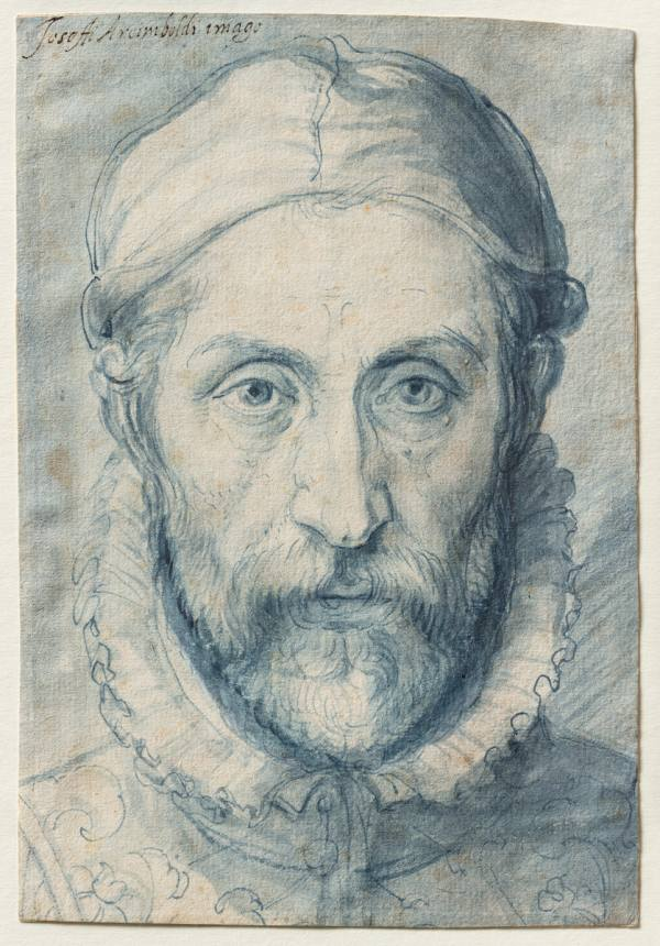 Giuseppe Arcimboldo, Self-portrait, first half of the 1570s, Pen and brush and blue colour