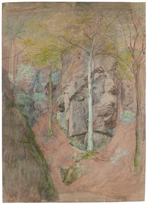 Josef Mánes, Sandstone Rocks with Trees near Hrubá Skála, 1867–1868, Pencil, pen, Indian ink, watercolour