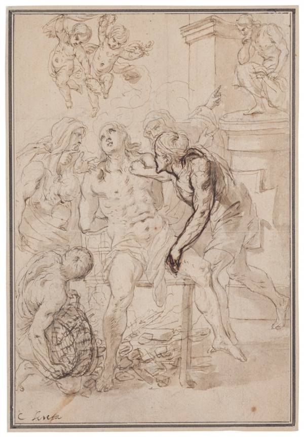 Karel Škréta, Martyrdom of St Lawrence, c. 1650, Pen and brush and brown ink, lead underdrawing