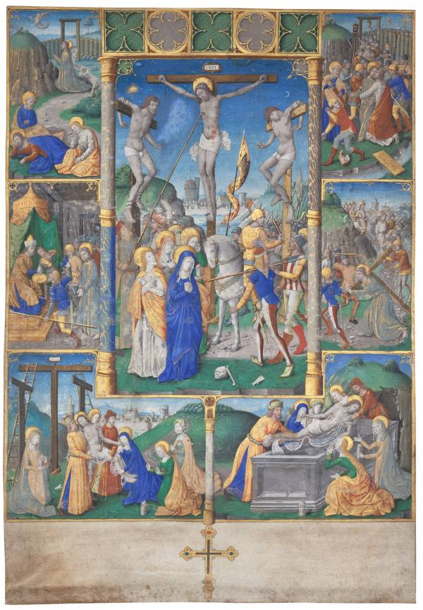 Master of Jacques de Besançon, Crucifixion with Six Stories from the Passion, Brush and body colours, gilded, vellum
