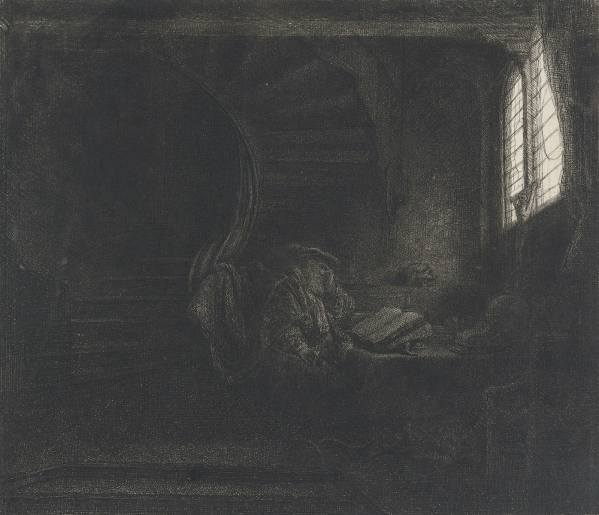 Rembrandt van Rijn, St Jerome in a Dark Chamber, 1642, Etching, drypoint, engraving