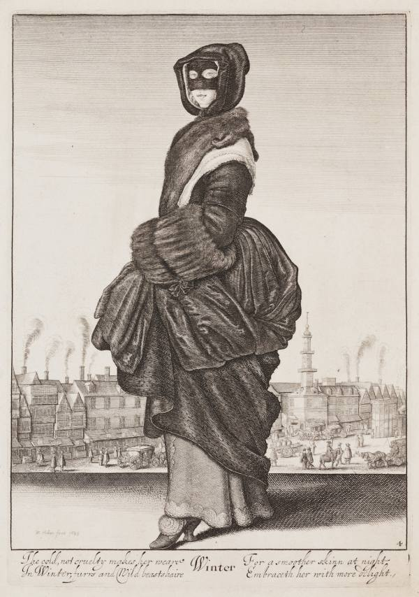 Wenceslaus Hollar, Winter, from the Four Seasons cycle featuring full-length female figures, 1643–1644, Etching