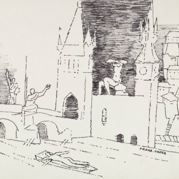 M. F. Husain, Praha – Three, 17. 6. 1976, a sheet from a sketchbook, ink on paper, 15,5 x 23 cm, National Gallery Prague