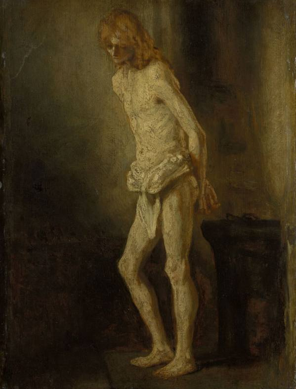 Rembrandt Harmensz. van Rijn – attributed, Nude Study of a Standing Youth as Christ at the Column, ca. 1646, Wallraf-Richartz-Museum & Fondation Corboud, Cologne