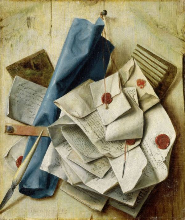 Cornelis Norbertus Gijsbrechts, Quodlibet with Letters, Combs and a Blue Paper Roll, 1675, Wallraf-Richartz-Museum & Fondation Corboud, Cologne