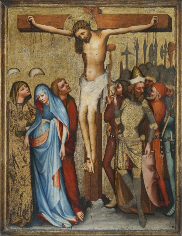 Master of the Rajhrad Altarpiece, Crucifixion from Nové Sady, called the Rajhrad Altarpiece, around 1440