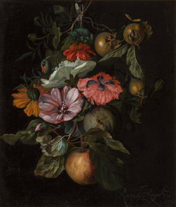 Rachel Ruysch, Still Life with Flowers and Fruit, 1682, National Gallery Prague