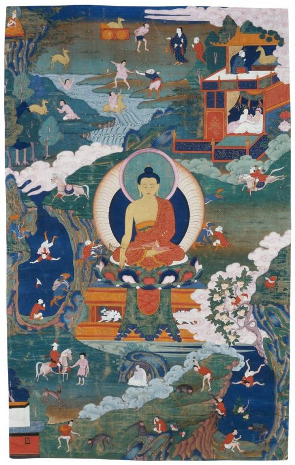 Buddha and Stories from His Life, Tibet, late 17th century, NGP