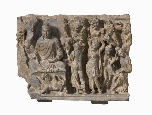 The Buddha is Tempted by Mara, Pakistan, Gandhara region, turn of the 3rd and 4th centuries, Rietberg Museum Zürich