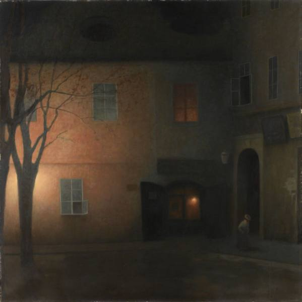 The painting in the holdings of the National Gallery Prague called On Týnská Street looks like the work of Jakub Schikaneder. But it is the real one?