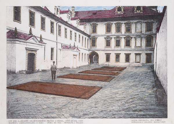 Jan Ambrůz, Five TPs for the 2nd courtyard of the Wallenstein Palace, 1994, Photo: NGP Archive, by kind permission of the artist