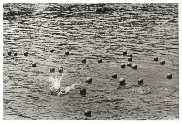 Zorka Ságlová, Throwing Balls into the Bořín Pond in Průhonice, 1969, Photo: NGP Archive, by kind permission of the photographer Jan Ságl