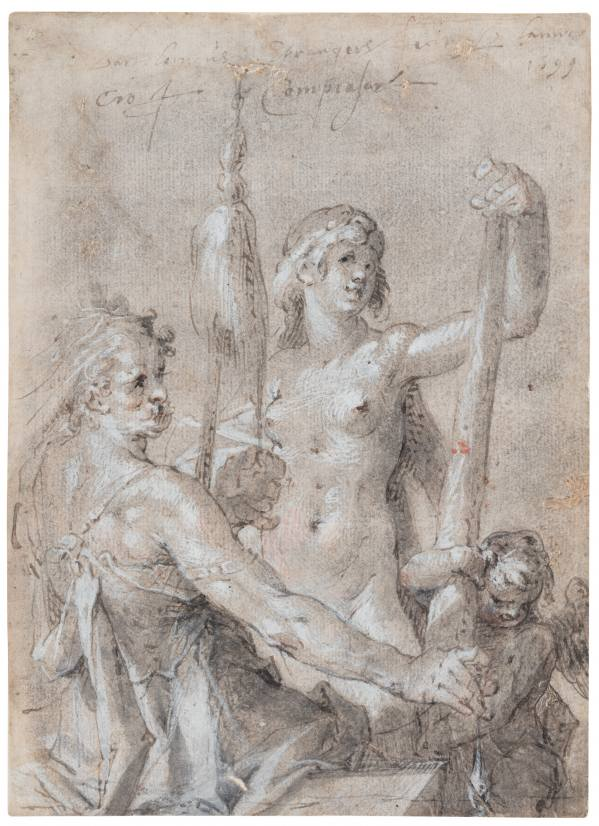 Bartholomeus Spranger, Heracles and Omphale, 1599, grey-brown brush washes, heightened with white